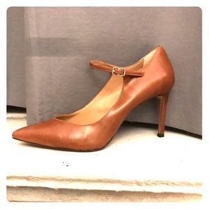 BR brown pointy toe ankle strap heels WORN ONCE!